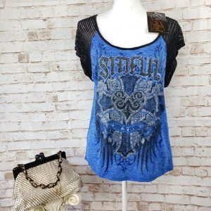 NWT Sinful Affliction S Blue Embellished T-Shirt